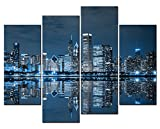 SmartWallArt@ - 4 Panel Wall Art Painting Chicago Michigan Famous Luxury Blue Mirror Lake At Night Picture On Canvas Stretched By Wooden frames-For Living Room Decor Or As A Gift