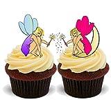 Rose fée Violet Fantaisie &DUO de fleurs Idéal pour fête d'anniversaire Motif cupcakes comestibles en support de 12 décorations de gâteaux en Papier de riz comestible pour gâteaux - 2 x 12 images A5
