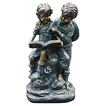 Alpine Girl and Boy Reading Together Statue, 15 Inch Tall