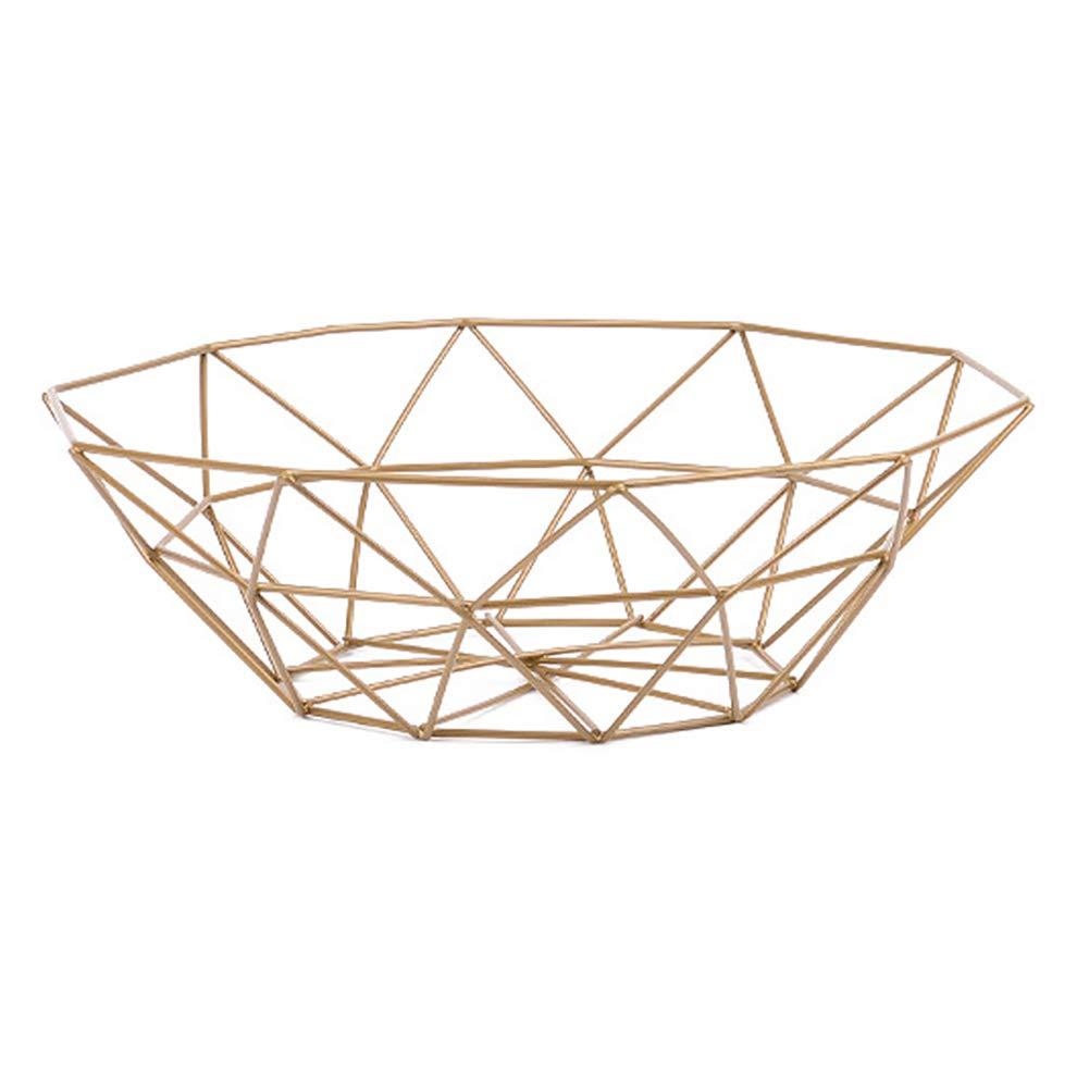 MoGist Fruit Basket Fruit Bowls Storage Stainless Steel Wire Snacks Storage Basket Home Kitchen Art Decoration Fruit Basket, 26 cm - Copper Plated (Golden)
