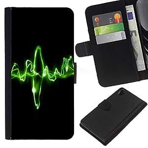 YiPhone /// Tirón de la caja Cartera de cuero con ranuras para tarjetas - Waves Música verdes - Sony Xperia Z2 D6502
