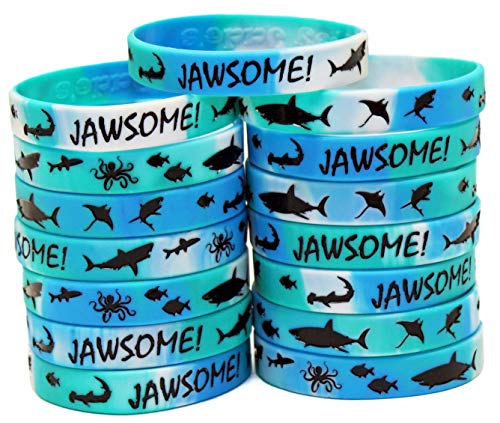Gypsy Jade's Shark Party Favors - Wristbands for Jawsome! Shark Themed Parties - Pack of 15! ()