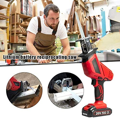 Usuny Cordless Reciprocating Garden Saw - 21V Lithium-Ion Battery - Outdoor Power Tool for Branches and Twigs - Quick Charging - 80mm Blade