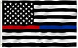 G128 - Thin Blue Line Police & Thin Red Line Firefighter EMBROIDERED 3X5ft ...