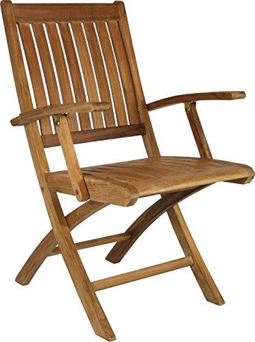 Teak Santa Barbara Folding Arm Chair made by Chic Teak (set of 2) For Sale