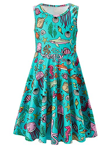 Girls Sleeveless Dress 3D Print Cute Aquatic Sea Creatures Ocean World Pattern Green Summer Dress Casual Swing Theme Birthday Party Sundress Toddler Kids Twirly Skirt, Sea Creatures, 10-13T]()
