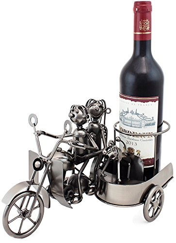 "BRUBAKER Wine Bottle Holder ""Motorcycle Couple with Dog in Sidecar"" Metal Sculptures and Figurines Decor Wine Racks and Stands Gifts Decoration Review"