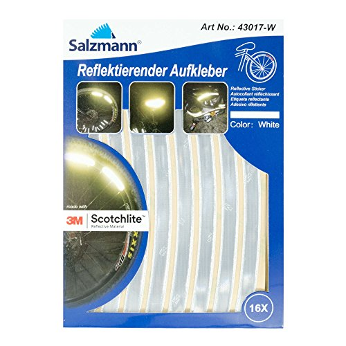 Salzmann 3M Reflective Bike Stickers Ideal For Rims Helmets, 16 small pcs ready made, White
