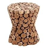Deco 79 38418 Wood Teak Stool, 15'' x 17'', Brown