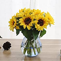 Meiliy 6 Pcs Artificial Sunflowers Preserved Flower Bouquet Bride Bridesmaid Holding Flowers for Home Hotel Office Wedding Party Garden Craft Art Decor
