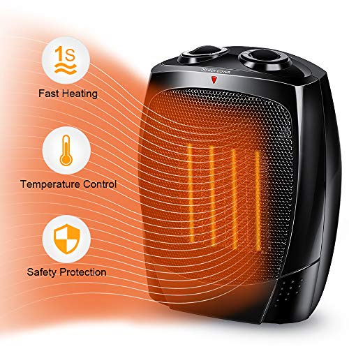 Space Heater - Portable Electric Heater with Adjustable Thermostat, Tip-Over & Overheat Protection for Home & Office, 1500W / 750W /5W Power Setting, ELT Listed, Small Size, PTC Heating Elemen
