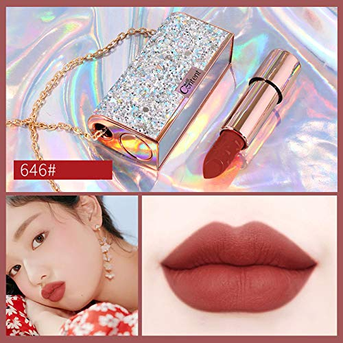 Velvet Lipstick With Diamond Chain Bag&Mirror - Shining Diamond Bag &Long-Lasting Lipstick (E)