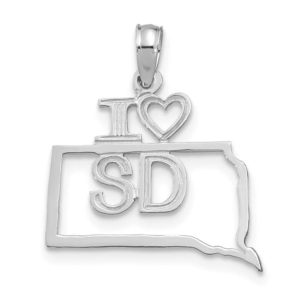 14k White Gold Solid South Dakota State Pendant