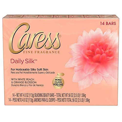 - Caress Daily Silk 4 oz Beauty Bar White peach & Silky Orange blossom, 14-Pack