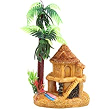 Embiofuels(TM) 1PC Resin Simulation Coconut Tree Castle Aquariums Fish Aquatic Pet Tank Ornaments Decoration Fish House