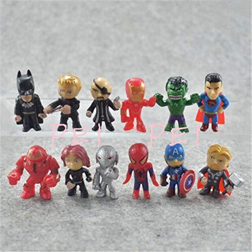 WEKIPP 12 Pcs/Set Superhero Man Buster Mini Q-Version Action Figure Toy -Multicolor Complete Series Merchandise