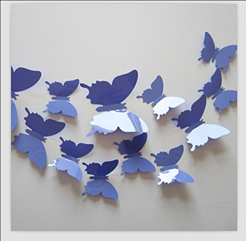 - Romantiko 12 Pcs Fashion 3D Butterfly Wall Stickers Art Decor Decal For Home Wedding Party Lavender