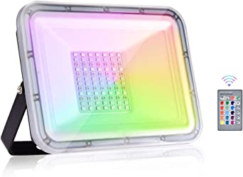 Viugreum 50W RGB LED Foco de Colores, IP67 Foco LED RGB, Control ...