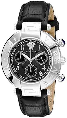 Versace Women's Q5C99D009 S009 New Reve Stainless Steel Watch with Black Leather - Versace New