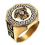 Mens Hip Hop Medusa Ancient Greek Mythology Gold Rings,Size 13