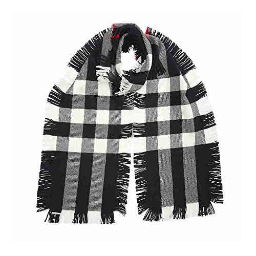 Black Burberry Scarf - BURBERRY Fringed Check Wool Scarf - Black