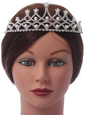 Avalaya Bridal//Wedding//Prom Rhodium Plated Faux Pearl Austrian Crystal Royal Style Tiara