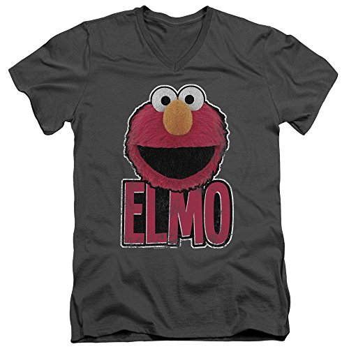 V Smile Elmo - A&E Designs Mens Elmo Smile Slim Fit V-Neck Shirt, Charcoal, Large