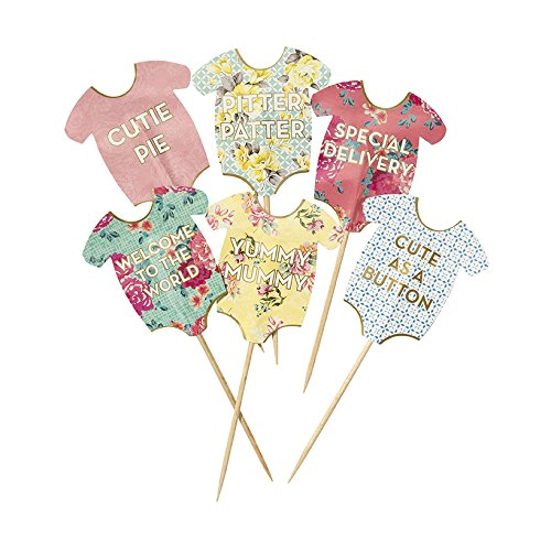 Talking Tables Truly Scrumptious Baby Grow Cake Toppers for a Baby Shower, Multicolor (24 Pack)]()