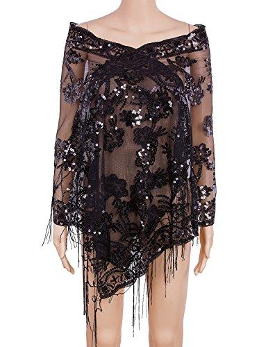 Vijiv Années 1920 Châle Sequin Des Femmes Enveloppe Haussement Cape Pour Les Robes De Soirée De Mariage De Mariée Gatsby 21.5 * 63 Noir