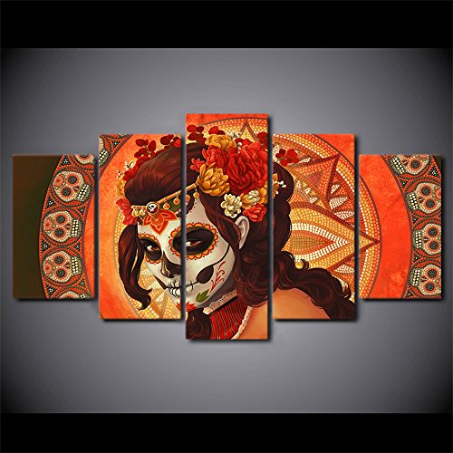 Dia De Los Muertos Sugar Skull Girl's Face Painting Canvas HD Printed Day of the Dead Pictures Saints Day Halloween Wall Art for Living Room Modern Home Decor Gallery-wrapped 5 PCS Framed(60''Wx32''H) (Halloween Art)
