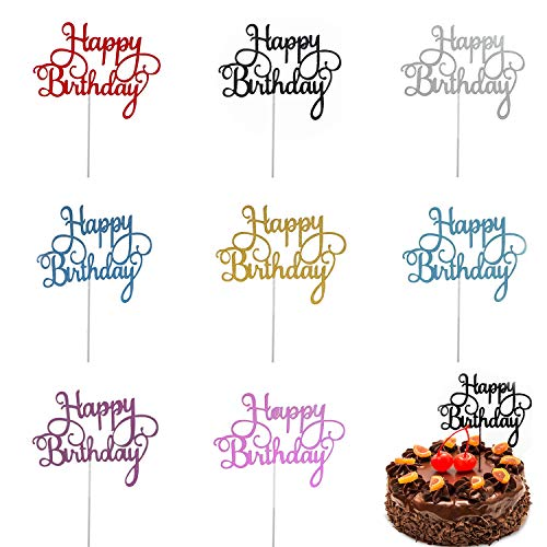 """Trounistro Happy Birthday Cake Toppers, 40 pieces Cake Toppers Glitter Cardstock Topper letters""""happy birthday"""" , For Your Friends And Family, Party Decorations - Eight color"""