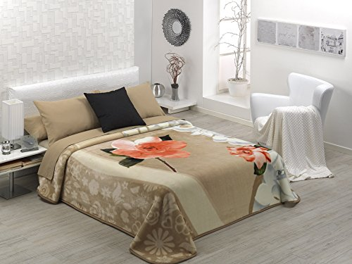 European - Made in Spain warm blanket Mora Gold 2 PLY 220x240 Beige Color by MORA Blankets