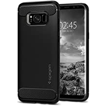 Spigen Rugged Armor Galaxy S8 Case with Resilient Shock Absorption and Carbon Fiber Design for Samsung Galaxy S8 (2017) - Black