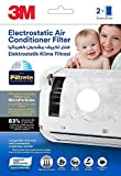 3M Electrostatic Air Purifying Filter for Split ACs (White - 2 pcs), Removes PM 2.5 pollutants & Turns AC into air purifier