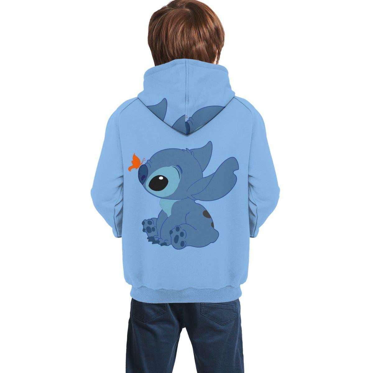 Eleebala Lilo and Stitch Butterfly Teen Girls Boys Hoodie Pullover Sweatshirt