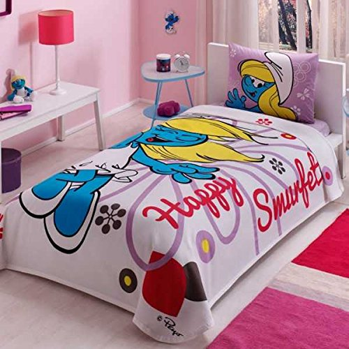 100% Cotton Kids Smurfs Pique Bedding Duvet Cover Set Twin Size New Licensed / Happy Smurfette Kids Pique Bedspread Bedding Set 3 PCS by DHL EXPRESS