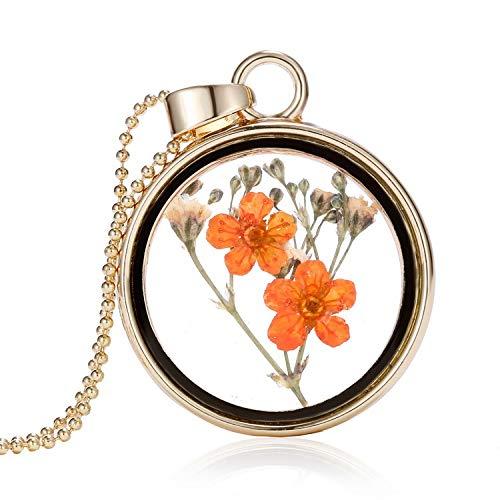MYYQ. Women Necklace Pendant, Glass Dried Flower Necklace Orange Flowers Round Photo Frame Item Decorative Plant Specimen Jewelry