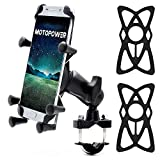 MOTOPOWER MP0619 Bike Motorcycle Cell Phone Mount Holder- for Any Smartphone & GPS - Universal Mountain & Road Bicycle Motorcycle Handlebar Cradle Holder