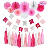 hot pink party decorations - Nougat Decor 22 Pcs Pink and White Happy Birthday Party Decoration Set, Including Happy Birthday Banner,Tassel Garland, Tissue Paper Pom Poms and Hanging Paper Fans