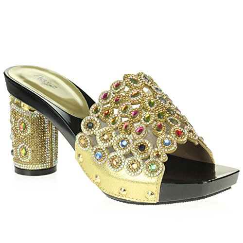 AARZ LONDON Womens Ladies Crystal Diamante Evening Wedding Party Bridal Prom Decorated Block Cone Heel Slip-On Sandal Shoes Size Gold mxWAb4W