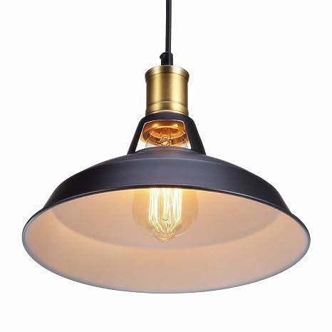 Glighone Luz Colgante 40W Lámpara de Techo Lámpara Industrial Luz Vintage Lámpara Colgante Luz Rústica de Pantalla de Metal Iluminación Retra, La ...