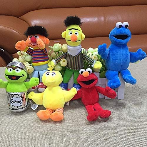 Mookapstore 6pcs/Set Street Elmo Big Bird Erine Bert Cookie Monster Stuffed Plush Dolls Toys Pendant Keychain Bag Hanging Toys