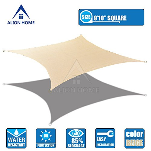 Alion Home HDPE 180 GSM Sun Shade Sail – Color BANHA Beige Size 9 ft 10 in Square