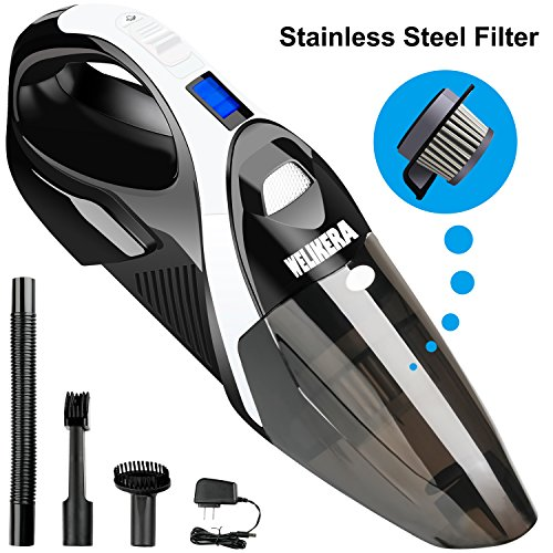 Dust Buster Cordless, WELIKERA 12V 100W Cordless Handheld Vacuum, Powerful Portable Vacuum Cleaner, Rechargeable Vacuum with Stainless Steel Filter and A Carrying Bag, Black Vac Portable Vacuum Cleaner