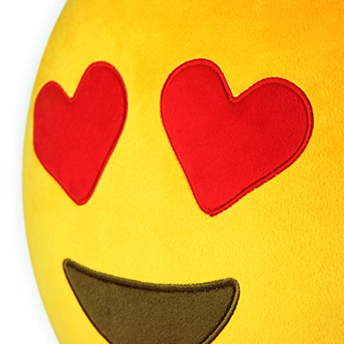Qs-32cm13IN-Emoji-Smiley-Emoticon-Yellow-Round-Cushion-Pillow-Stuffed-Plush-Soft-Toy-USA-Best-Quality
