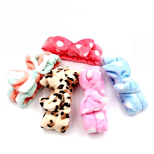 Xerhnan 5pc Ultra Soft Face Washing Elastic Bow Towel Head bands - Bright Leopard, Stripes, and Pink White Polka Dots