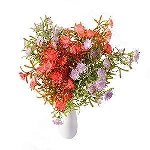 Artificial Plastic Flowers, 4 Bundles Daisy Bouquet Filler Fake Chrysanthemum Faux Plant Shrubs Greenery Bushes for Home Office Wedding Floral Arrangement Vase Indoor Outdoor Hanging Planter Decor 47