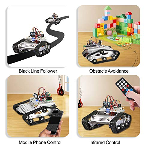 KOOKYE Robot Car Chassis + Robot Car Electronics Parts Kit Tank Platform Metal Stainless Steel 2DW Motor 9V for Arduino by KOOKYE (Image #1)