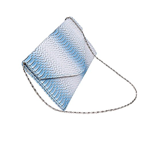 Clutch Cloth (Women Snakeskin Pattern Clutch Evening Bags PU Leather Crossbody Handbag Messenger Shoulder Button-Down Tote Bags(11.61x6.1in,Sky Blue))
