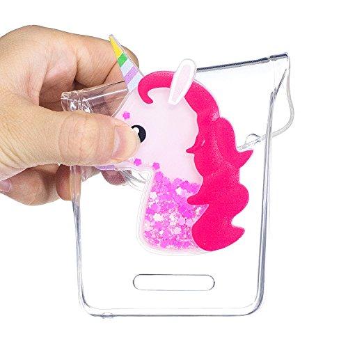 Funda Wiko lenny 2,ToDo 3D Bling Glitter Líquido Silicona Transparente TPU Unicornio Funda Carcasas para Wiko lenny 2,Sparkle Brillar Claro Tapa Caso Ultra Fina Ligero Suave Gel Shock-Absorción Anti-A Rojo